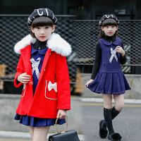 7女童时髦冬装两件套装2018新款9韩版10毛呢12中小学生13保暖15岁 图片色