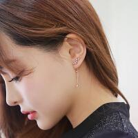 欧丁925纯银耳针气质流苏耳环长款耳钉女日韩国耳夹H015