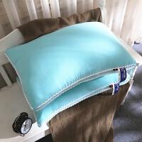磨毛水洗棉枕芯 床上用品纯色简约风花边枕头48*74一对拍2