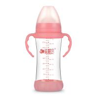 20180823055613090新生儿婴儿宝宝奶瓶宽口径玻璃防摔防胀气温感带手柄带吸管