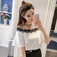 夏季雪纺衫女2018新款韩版宽松圆领网纱拼接蕾丝边打底短袖上衣潮