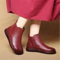 乌龟先森 短靴 女式新款手工编织舒适软底女鞋头层牛皮休闲短靴秋冬季保暖高帮女棉鞋低筒靴