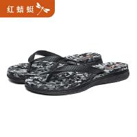 红蜻蜓花色人字拖女夏季平跟防滑夹脚沙滩凉拖鞋海边外穿
