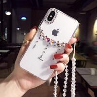 网红苹果手机壳带钻女款iphone7/8plus保护套XR奢华水钻6S潮