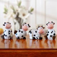 美式树脂小奶牛小摆件可爱卡通创意家居桌面装饰品隔板格子柜摆设