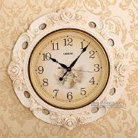 挂钟客厅静音 田园卧室欧式复古石英钟 现代大号简约创意钟表 20英寸