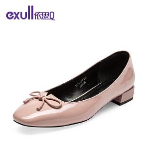 依思q春秋季新款蝴蝶结亮面粗低跟女鞋方头套脚单鞋女鞋