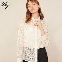Lily春新款女装商务吊带内搭纯色经典蕾丝衬衫119130C4224