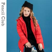 【2件3折:186】铅笔俱乐部童装2019冬季新款女童长款羽绒服中大童保暖羽绒外套