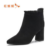 红蜻蜓短靴女冬季新款真皮加棉保暖女棉鞋休闲百搭时装靴