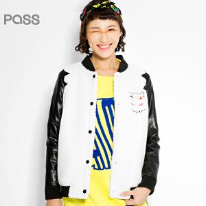 PASS原创潮牌冬装 时尚宽松加厚摇粒绒拼接PU短外套女6541412046