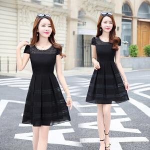 2018新款夏装雪纺连衣裙女韩版修身显瘦气质中裙时尚短袖A字裙子