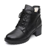 冬季妈妈鞋真皮中跟加绒女棉鞋加厚羊毛短靴子中年粗跟马丁靴冬鞋真皮 黑色