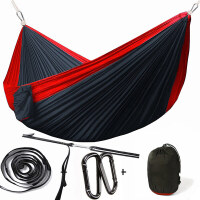 降落伞布吊床双人户外室内便携轻薄结实野外露营秋千吊椅 红色 300*200红拼黑