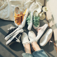 帆布鞋女小白鞋糖果色2019夏季半拖帆布鞋女韩版潮鞋子女学生百搭透气无脚跟0209