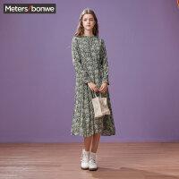 【1件3折价:92.7】美特斯邦威连衣裙女裙子春装新款简约雪纺长裙打底裙商场款