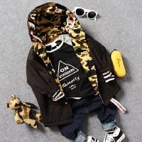 儿童两面穿中长款棉衣18春秋中男童鲨鱼迷彩字母薄棉连帽外套风衣