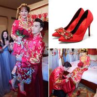 婚鞋女2017新款红色新娘鞋水钻高跟鞋中式结婚鞋尖头中跟细跟红鞋 红色 5cn