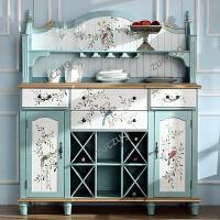 ZUCZUG梵高乡村家具复古彩绘美式餐边柜实木储物柜子厨房橱柜碗柜酒柜 双门
