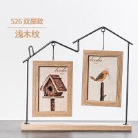 创意相框6寸北欧铁艺摆台儿童可爱办公桌面水培萌宠木质像框相架 浅棕 526双小屋 6寸