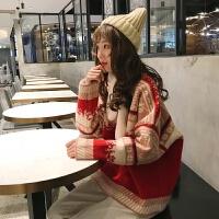 2018早春新款复古红色慵懒宽松甜美可爱加厚圣诞节套头毛衣外套女 红色 均码(0/84A)