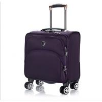 18寸小行李箱女迷你行李箱男商务出差登机箱牛津布横款旅行箱软箱 紫色 万向轮