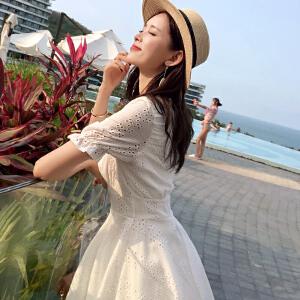 谜秀连衣裙女短袖2018夏装新款韩版修身显瘦白色V领仙仙女裙子夏
