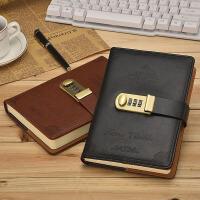 韩国加厚记事本复古密码本带锁日记本创意手账本学生文具笔记本子