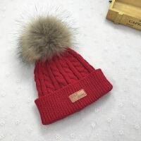 儿帽子秋冬季1一3岁儿童帽子男女潮宝宝帽子冬韩版毛线帽 均码