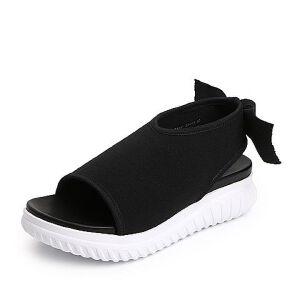Belle/百丽2018夏专柜新款飞织布厚底运动风女凉鞋S5S2DBL8