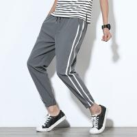夏季新款九分条纹运动休闲裤男大码裤子