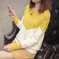 春装2018新款韩版V领毛衣女装套头宽松低领针织衫长袖打底衫