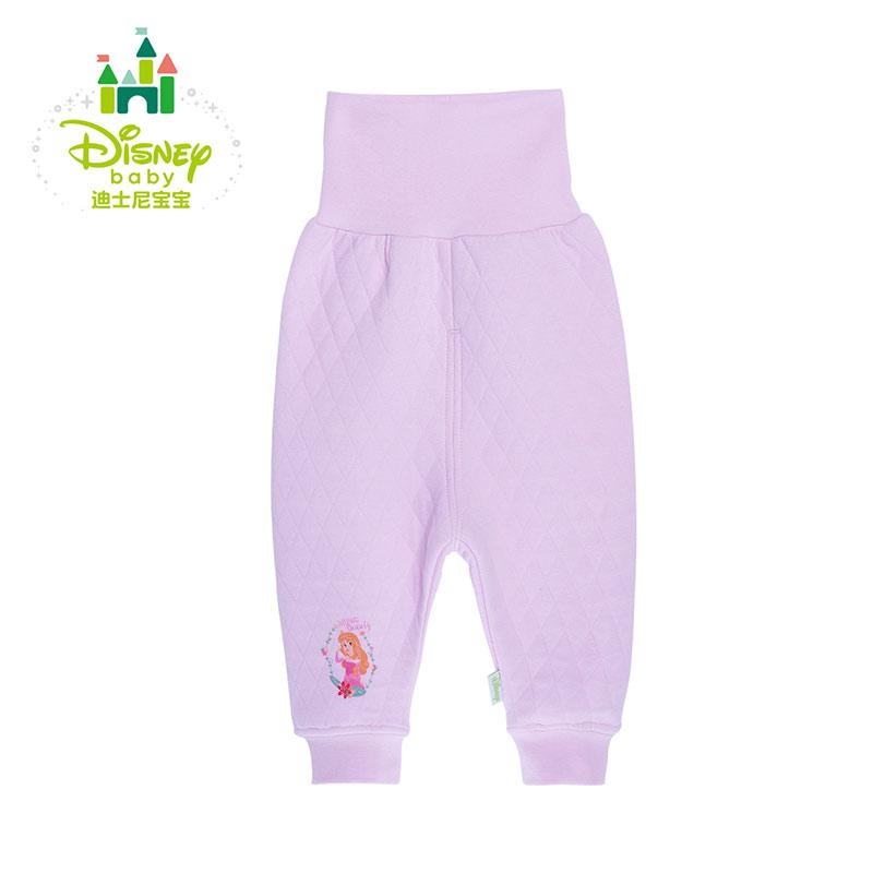 迪士尼Disney童装婴儿裤子秋冬新款内衣棉裤保暖高腰护肚裤秋裤154K657 三层暖棉,高腰护肚