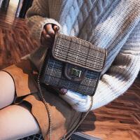 小包包女新款潮韩版时尚毛呢链条小方包斜挎包百搭单肩包