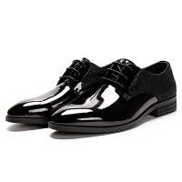 2018新款男士皮亮面拼接商务皮鞋真皮正装绅士皮鞋宴会皮鞋男鞋子软底