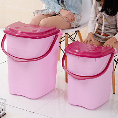 家用泡脚桶塑料加大加高按摩洗脚桶泡脚木桶带盖保温足浴盆洗脚盆