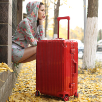 拉杆箱万向轮24寸铝框行李箱22复古皮箱子26旅行密码登机箱20男女 钻石款 红色 实拍