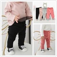 水貂绒女宝宝长裤 女童婴儿冬季加绒打底裤加厚款修身长裤靴裤