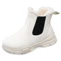 雪地靴女短筒2018新款冬季韩版百搭学生短靴马丁靴加绒保暖棉鞋子真皮 粉色 偏小一码 比平时买大一码