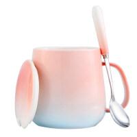创意情侣杯子 一对女学生潮流韩版陶瓷杯带盖勺马克杯家用简约水杯