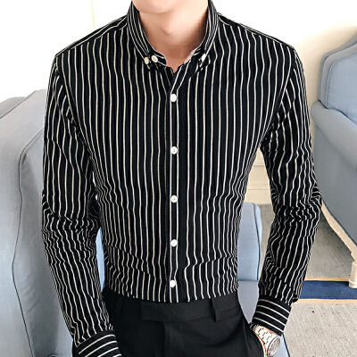 春季新款潮流男装条纹小方领休闲衬衫韩版衬衣商务14