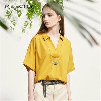 【1件3折到手价:117】纯棉MECITY女装夏新品简约梭织V领短袖衬衫