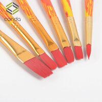 儿童水彩画笔刷6支装木杆画笔套装 绘画水粉颜料笔绘画刷子 6支木杆画笔