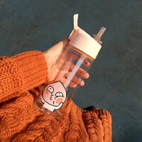 韩国韩版可爱创意卡通软萌玻璃杯水杯随手杯便携带吸管杯水杯