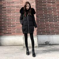 大毛领棉衣女冬季韩版加厚中长款羽绒显瘦保暖棉袄潮 黑色