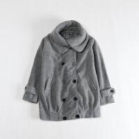 秋冬女中�L款毛呢外套 �p排扣��松�O型�@瘦�p薄大衣40X