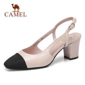 骆驼2018夏新款女士凉鞋 包头不露脚趾粗跟高跟鞋 一字扣侧空鞋子