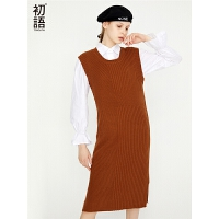 初语秋季套装裙女新款名媛小香风毛衣连衣裙衬衫裙两件套长款