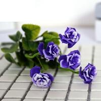 塑料花雏菊小把玫瑰花水草室外仿真塑料假花单支花艺插花装饰 紫色 5朵玫瑰紫色