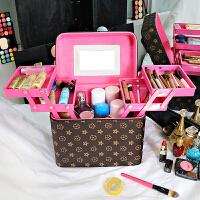 化妆包大容量多功能便携简约品双层手提箱大号网红多层收纳盒男女